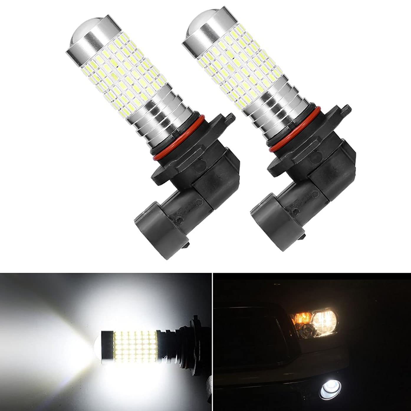 Anxingo 2PCS 1200 Lumens Extremely Bright 144-EX Chipsets H10 9140 9145 LED Bulbs with Projector for DRL or Fog Lights, Xenon White