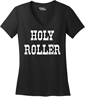 Comical Shirt Ladies Holy Roller V-Neck Tee