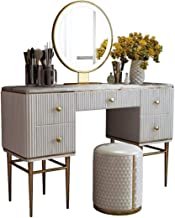 Dressing Table Set, Modern LED Dressing Table, White Dressing Table with Large Drawers, Dressing Table with Mirror and Sto...
