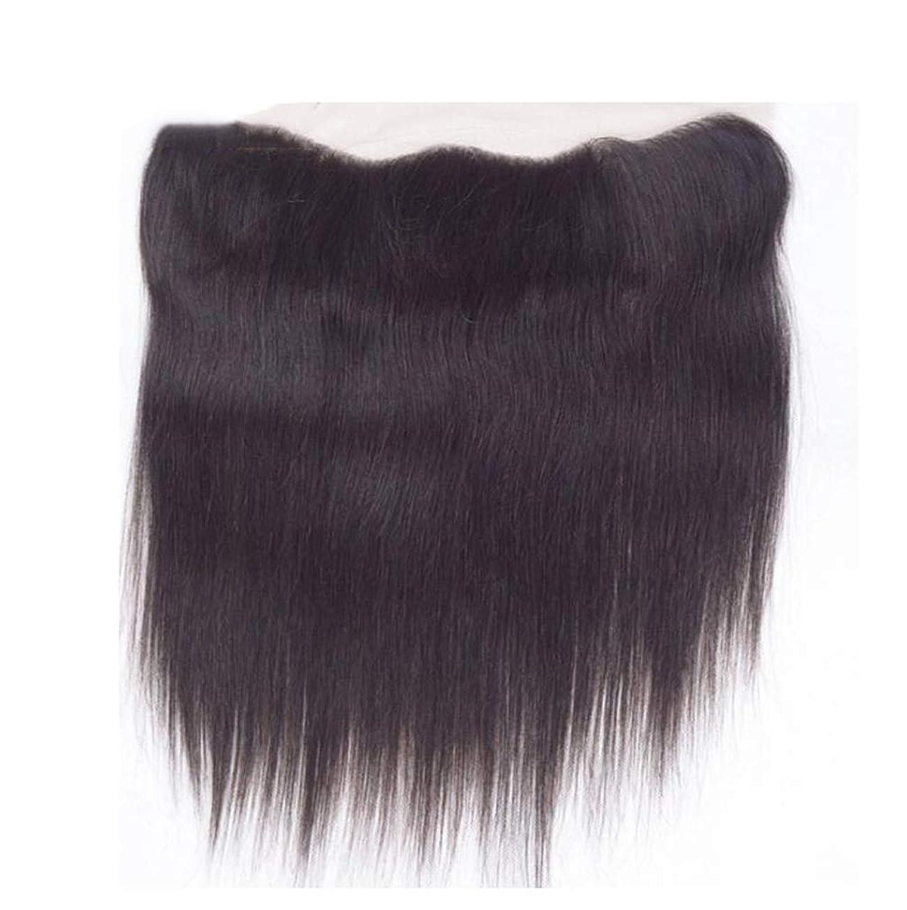 かつら人間かつらストレート織りヘアエクステンションレースフロント閉鎖漂白ノットナチュラル