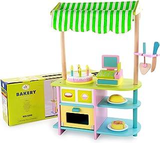 木製多機能ベーカリー、子供用キッチン玩具セット、ふりゲーム、DIYステッチ