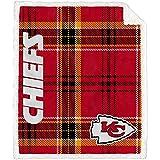 Pegasus Home Fashions Kansas City Chiefs 60'' x 70'' Plaid Ultra Fleece Sherpa Throw Blanket