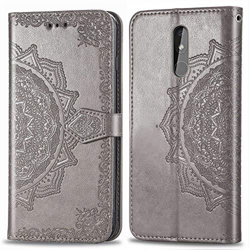 Bear Village Hülle für Nokia 3.2, PU Lederhülle Handyhülle für Nokia 3.2, Brieftasche Kratzfestes Magnet Handytasche mit Kartenfach, Grau