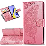COTDINFORCA Etui für Huawei P40 Lite 5G Hülle PU Leder Schutzhülle Magnet Tasche Flip Handytasche im Bookstyle Kartenfächer Lederhülle für Huawei Nova 7 SE Flower Butterfly Pink SD