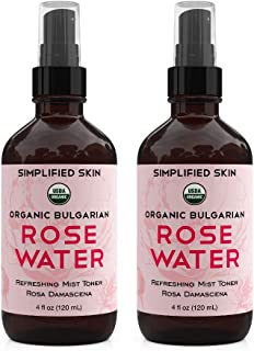 Rose Water for Face & Hair, USDA Certified Organic Facial Toner. Alcohol-Free Makeup Setting Hydrating Spray Mist. 100% Na...