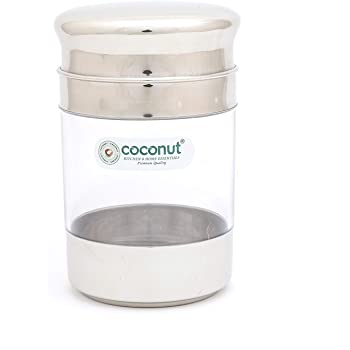 Coconut Crystal Canister/Unbreakable Jar/Storage Container/Utility Box -1 Unit - Capacity - 650ML, Diamater - 9.5 cm