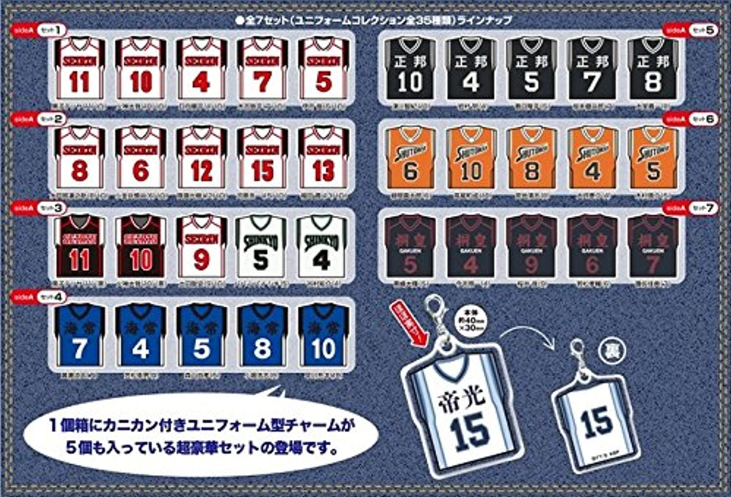 Kuroko's Basketball Uniform Collection side  A BOX products 1BOX = 7 set containing, (a set of 5 pieces), all seven sets