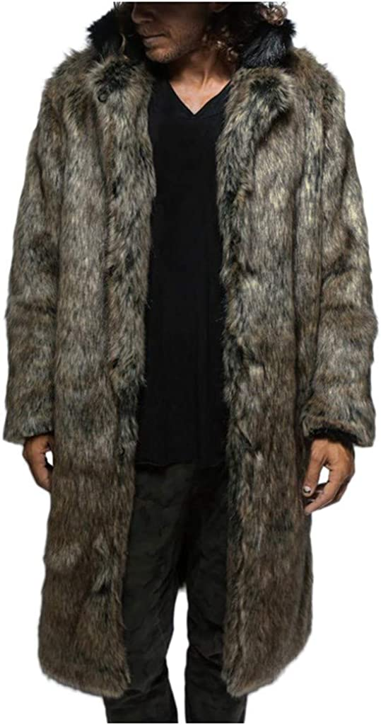 Mens Jackets, Mens Fur Collar Coat Jacket Fashion Warm Thick Fur Collar Coat Jacket Faux Fur Parka Outwear Cardigan