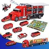 lenbest Camión de Juguete para Niños, Camión Transportador, Total de 11 Camión de Juguete, con...