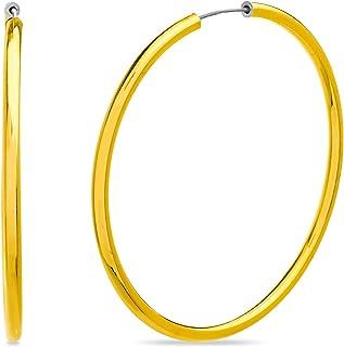 Steve Madden Yellow Gold Tone Endless Tube Hoop Earring for Women