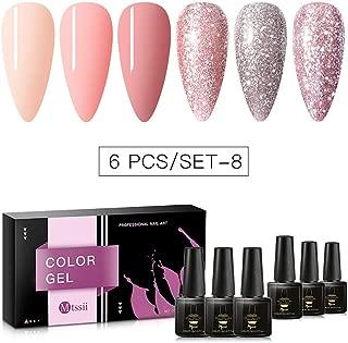 MTSSII Gel Nail Polish Sets Glitter Pink Series 6 Colors Nail Art Gift Box UV LED Soak Off Nail Gel Kit 0.27 OZ 8ml
