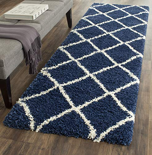 "Safavieh Hudson Shag Collection SGH281C Navy and Ivory Moroccan Diamond Trellis Area Rug (2'3"" x 3'9"")"