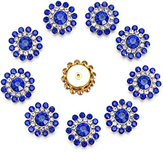 10pcs Sparkling Crystal Glass Stone Buttons Flower Shaped Rhinestone Buttons Steel Bottom Clothes Decoration Sewing Accessories(Royal Blue)