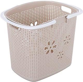 Panier à linge creux en plastique - Panier à linge pour salle de bain, toilettes, linge, jouets, boîte de rangement avec p...