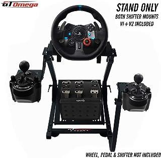 GT Omega Volante soporte para Logitech G29 G920 con montura de cambio de velocidades v1 y v2 Thrustmaster T500 T300 TX y TH8A - PS4 Xbox Fanatec Clubsport - Plegable y inclinación Diseño Ajustable
