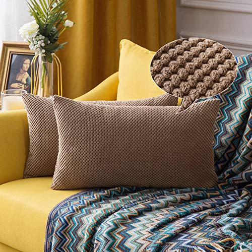 cuscino divano rettangolare MIULEE Cuscini per Divano Copricuscini Decorativi Rettangolari per Soggiorno Letto Matrimoniale Cameretta Federe Moderno Granulare Arredo Fodera Eleganti 2 Pezzi 30X50 CM Marrone