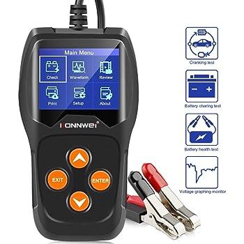 KONNWEI KW600 Car Battery Load Tester Black Professional Automotive Alternator Digital Analyzer Waveform Voltage Test Tool for Vehicle/Boat/Motorcycle