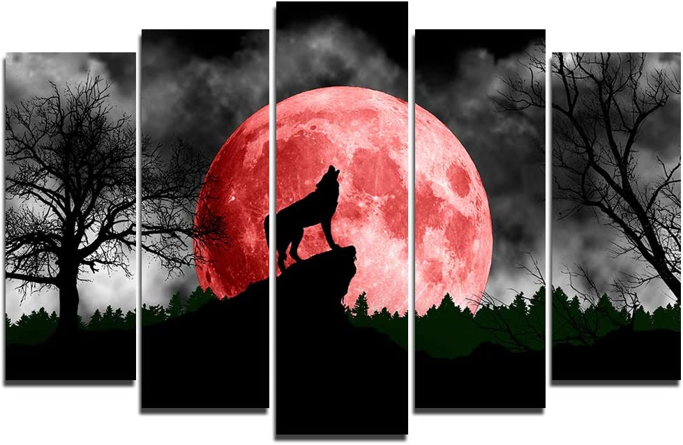 Faicai Art 5 Piece Black and White Paintings Animal Popular brand in the service world Under Wolf T
