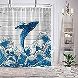 Demohome Wal Anti Schimmel & Anti Bakteriell Polyester Stoff 180 cm x 180 cm Duschvorhang Badezimmer dekorative Sets mit 12 Haken wasserdicht waschbar
