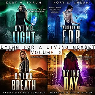 Dying for Living Boxset Vol. 2 : Books 4-7 of Dying for a Living Series (Binge Bundle)                   By:                                                                                                                                 Kory M. Shrum                               Narrated by:                                                                                                                                 Hollie Jackson                      Length: 31 hrs and 50 mins     17 ratings     Overall 4.5