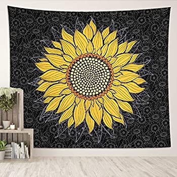 DESIHOM Sunflower Tapestry Sunflower Bedroom Decor Black Yellow Tapestry Wall Hanging Floral Wall Tapestry Sunflower Wall Tapestry for Living Room 59x51 Inch