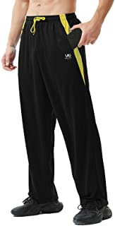 Men's Atheltic Pants with Zipper Pockets Open Bottom Lightweight Sweatpants, for Workout, Running, Gym, Training