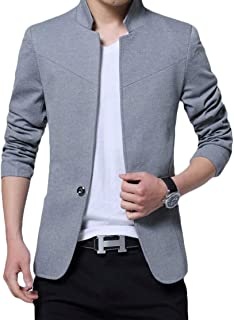 KLJR Men Plus Size Stand-up Collar Solid Casual 1 Button Blazer Suit