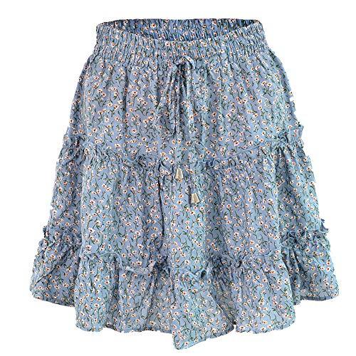 N\P Falda de verano informal de cintura alta con volantes y estampado floral para la playa