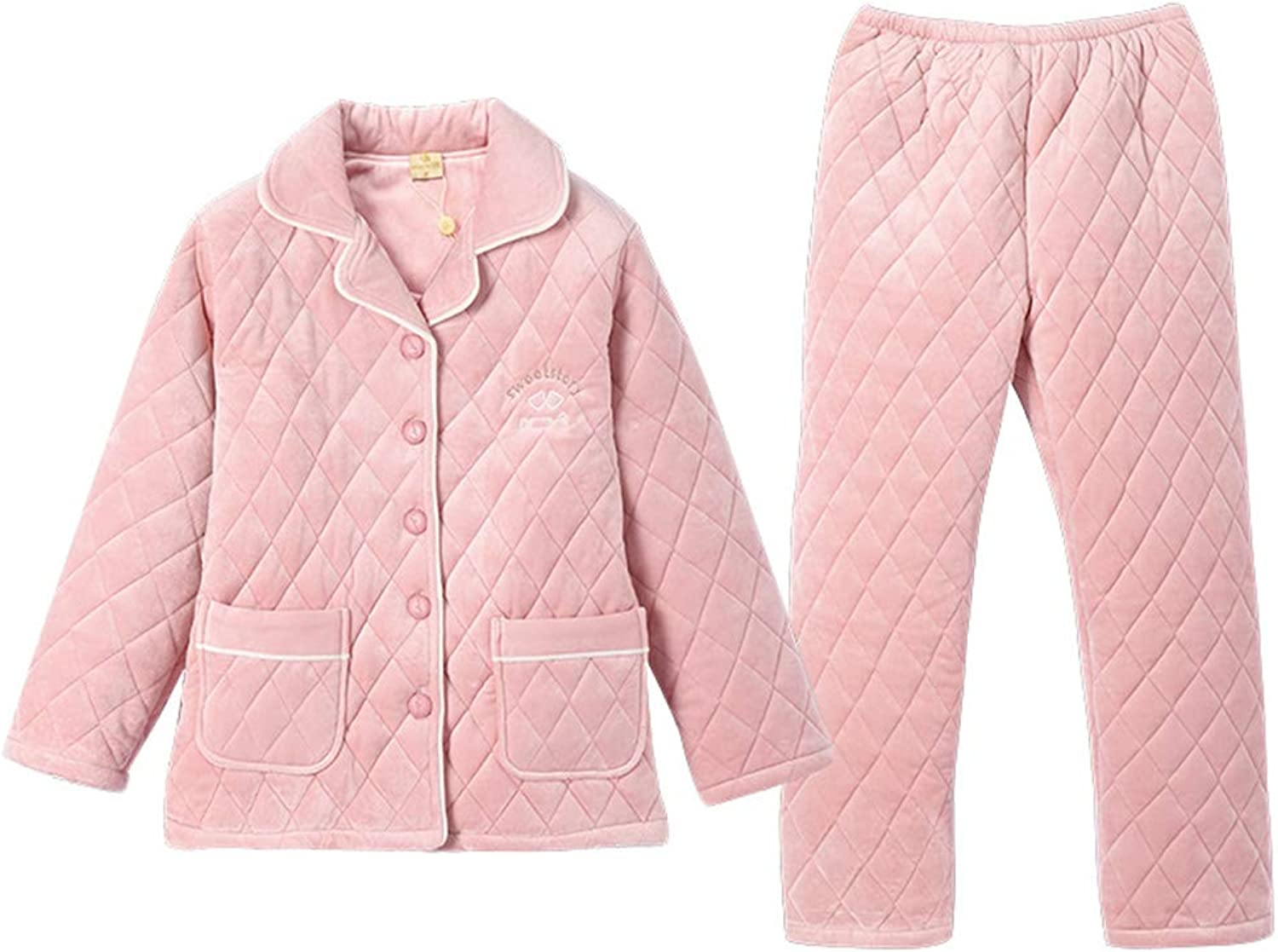 Pajamas Autumn and Winter Coral Fleece Quilted Couple Pajamas Suit Female Thickening Plus Velvet Home Service (color   Pink, Size   XL)
