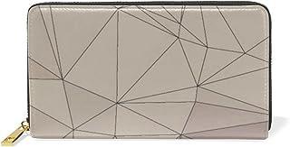 旅立の店 長財布 人気 レディース メンズ 大容量多機能 二つ折り ラウンドファスナー 本革  抽象的 三角形柄 ブラウン ウォレット
