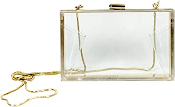 MB Greene Designer Box Style Clear Stadium Approved Purse Cross Body Bag with Chain for Evening, Concerts and Sporting Events (Includes Privacy Pouch - $10.00 Value)
