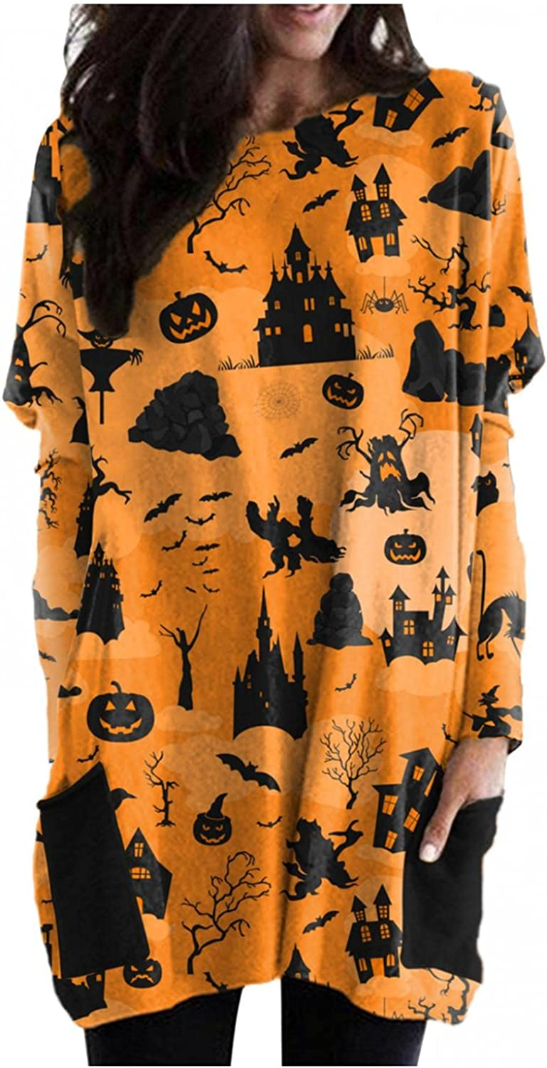 Hotkey Tunic Tops to Wear with Leggings, Sweatshirt for Women Halloween Haunted House Print Long Sleeve Pullover with Pocket