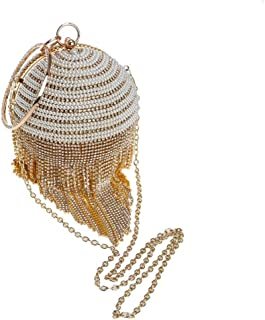 Fine Bag/Women's Ball Pattern Drill with Beaded Clutch Bag Long Tassel Ladies Evening Bag for Bridal Wedding Cocktail Handbag Prom Bag Banquet Bag (Color : Gold, Size : One Size)