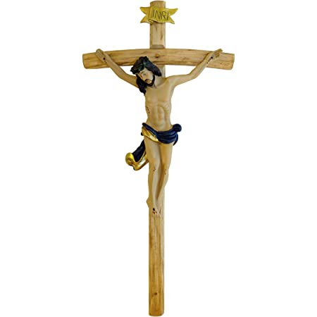 Kaltner Präsente, crocifisso con Gesù Cristo, da parete, in legno, 15 cm, dipinto a mano