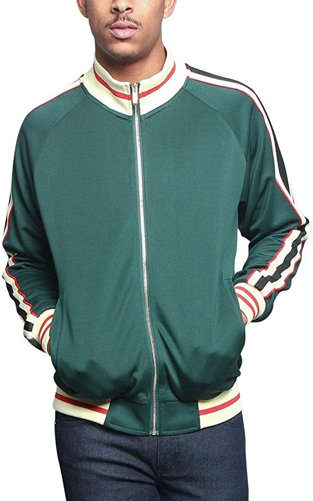 G-Style USA Men's Tri-Colored Solid and Striped Luxury Brand Style Zipper Track Jacket