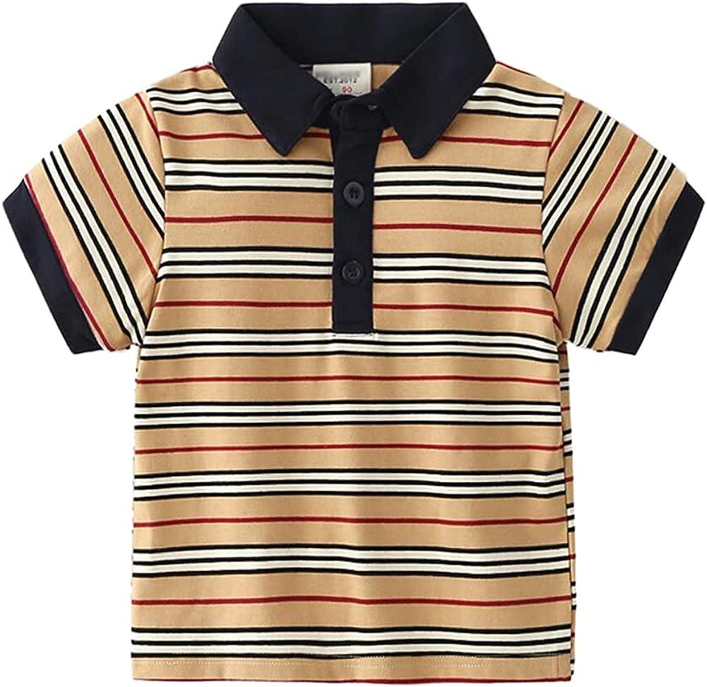 Motteecity Boys Clothes Casual Striped Cartoon Polo Shirt