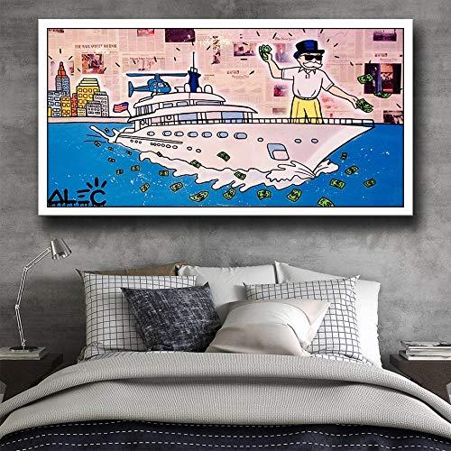 wZUN Wall Street Lobo Pintura Lienzo Impresiones Sala de Estar decoración del hogar Arte de la Pared Pintura al óleo póster imágenes 60x120 Sin Marco