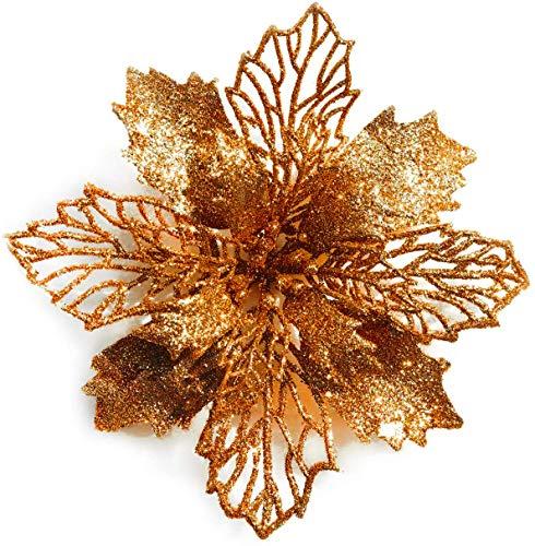 decorazioni natalizie bronzo GL-Turelifes - Confezione da 12 stelle di Natale artificiali