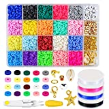 Zoyomax 4000 Pcs Clay Beads 6mm 20 Colors Flat Round Polymer Clay Spacer Beads with Pendant Charms Kit and 4 Roll Elastic Strings for DIY Jewelry Making Bracelets Necklace