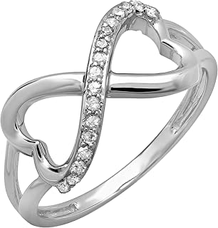 0.15 Carat (ctw) 14k Gold Round Diamond Ladies Promise Two Double Heart Infinity Love Engagement Ring