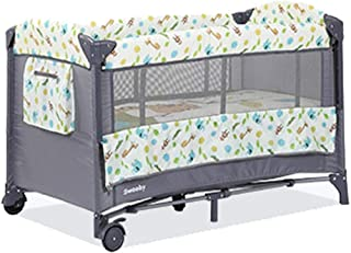 Travel Cot with Mosquito Net, Cradle and Changing Table, 120 X 60 cm, Optional Mattress (Color : Giraffe, Edition : Ordinary)