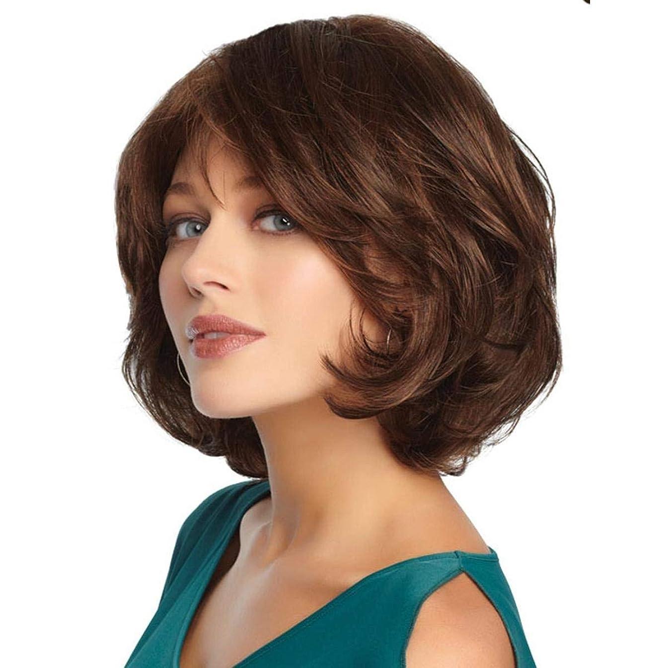 丁寧発表する大きさかつらファッション短いカーリー波状かつらフルかつら女性のコスプレまたは毎日の使用 (ライトブラウン)
