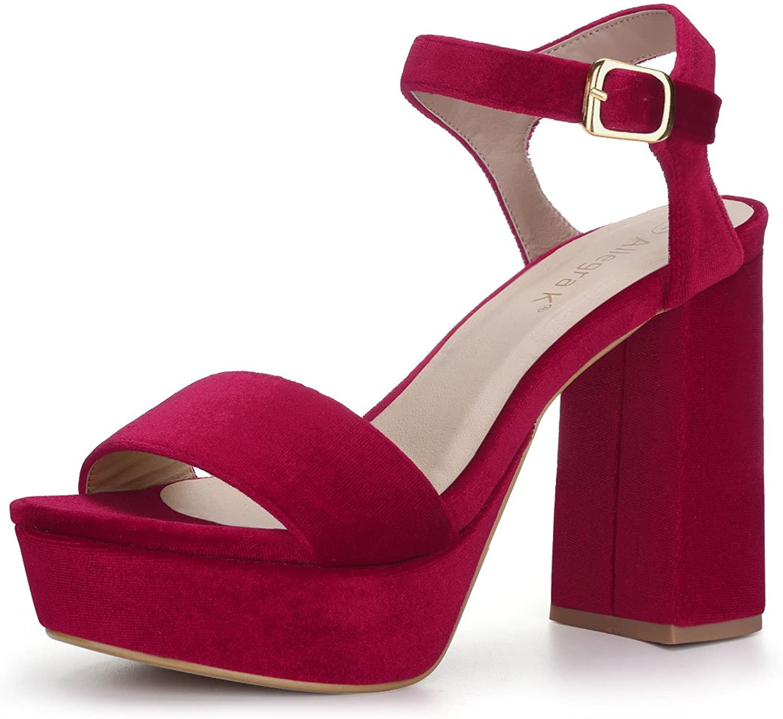 Allegra K Women's Velvet Slingback Ankle Strap Platform Heels Sandals