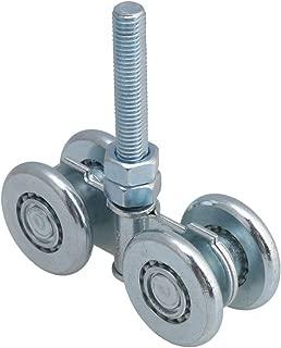 Dia 46mm Steel Double Wheel Rail Hanging Trolley Silver Sliding Track Roller Hanging Barn Door Rail Trolley Wheel H3-3 w/Nuts