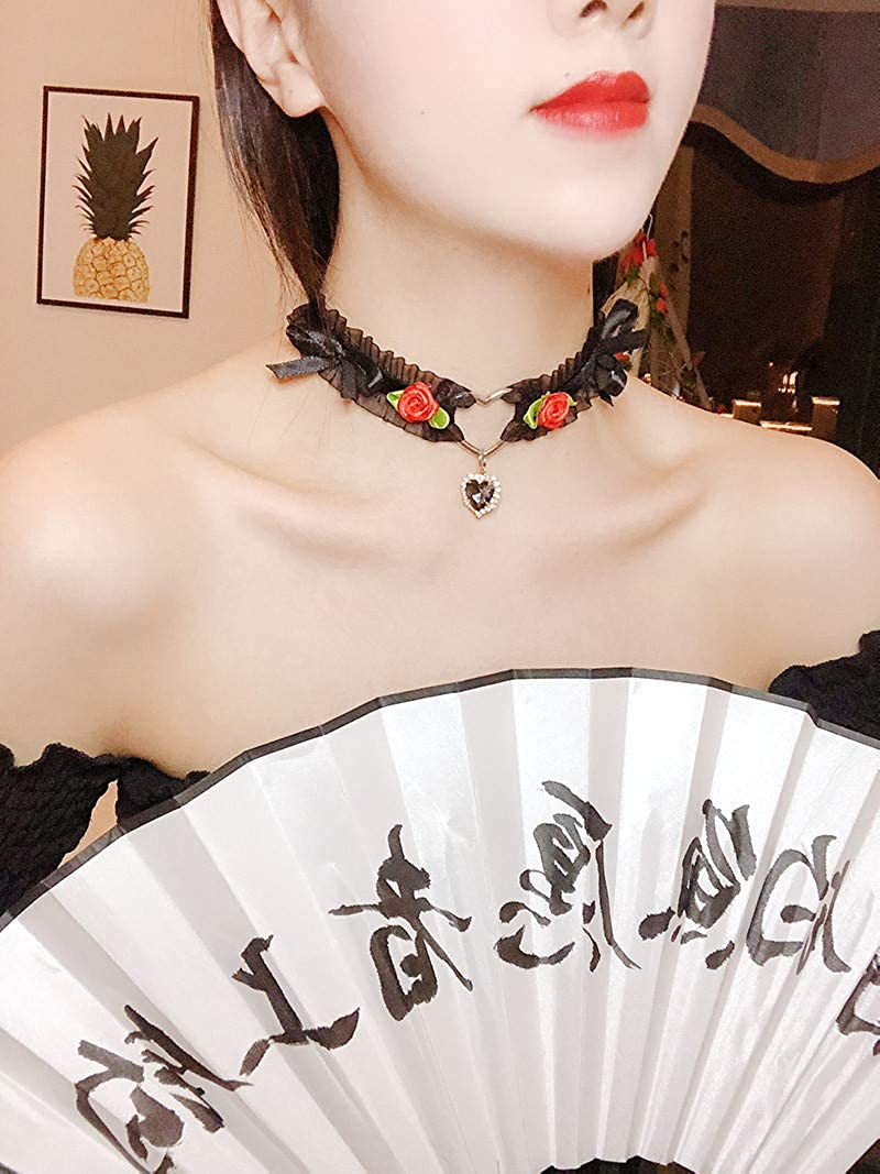 Pingyongchang Handmade Adjustable Lace Choker with Crytal Heart Flowers Pendant Sweet Cute Gothic Choker Necklaces Collar for Women Girls Detachable Cosplay Party Jewelry