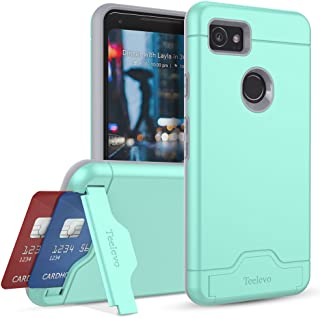 Teelevo Wallet Case for Google Pixel 2 XL - Dual Layer Case with Card Slot Holder and Kickstand for Google Pixel 2 XL (2017) - Mint Green