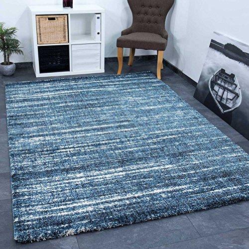 VIMODA Teppich Blau Meliert Dicht Gewebt Qualität Pflegeleicht Wohn Schlaf Zimmer, Maße:160x230 cm