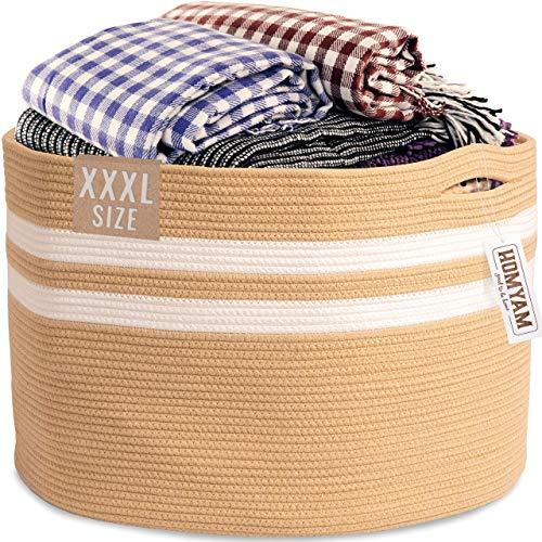 Extra Large Storage Basket – 22' X 14' XXXL Toy Basket – Decorative Large Blanket Basket Living Room, Woven Laundry Rope Baskets with Handles,Blankets Holder,Kid's Toys Storage Bin,Round – Beige
