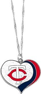 aminco Minnesota Twins MLB Sports Team Logo Charm Gift Glitter Heart Necklace
