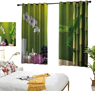 Warm Family Grey Curtains Spa,Bamboo Flower Stone Wax on The Table Orchid Rock Healthy Lifestyle Theme,Fern Green Fuchsia White 84